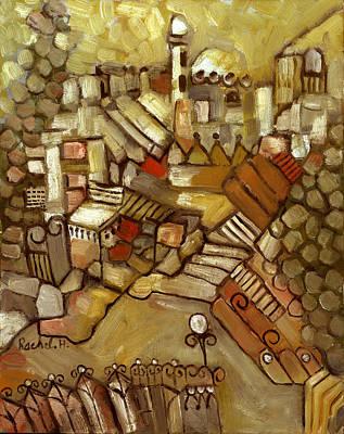 Painting - Jerusalem Of Gold Landscape by Rachel Hershkovitz