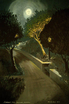 Sukkot Painting - Jerusalem Promenade At Night by Ron Cantrell