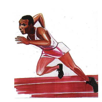 Jesse Owens Art Print by Emmanuel Baliyanga