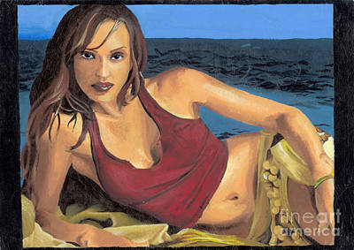 Jessica Alba Wall Art - Painting - Jessica Alba by Hui Teng Lee