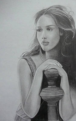 Jessica Alba Wall Art - Drawing - Jessica Alba Portrait   by Ashish Mohan