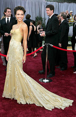 Evening Gown Photograph - Jessica Alba Wearing A Versace Gown by Everett