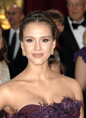 Jessica Alba Photograph - Jessica Alba Wearing Cartier Earrings by Everett