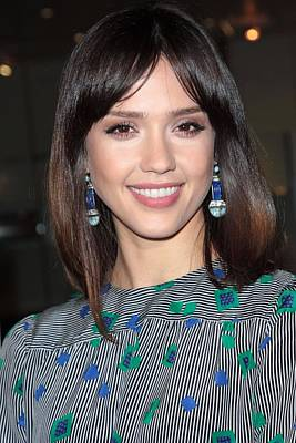 Jessica Alba Photograph - Jessica Alba Wearing Vintage Earrings by Everett