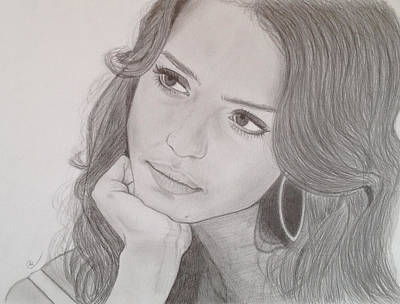 Jessica Alba Wall Art - Drawing - Jessica by Andrew Nelson