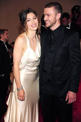 Justin Timberlake Photograph - Jessica Biel Wearing An Ivory Satin by Everett