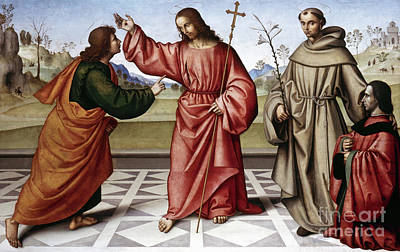 Incredulity Photograph - Jesus & Thomas by Granger