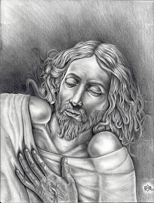 Master Piece Drawing - Jesus At Rest by Vincnt Clark