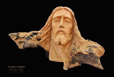 Jesus Christ Wooden Sculpture -  Four Art Print by Carl Deaville