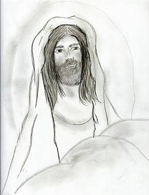 Jesus Drawing - Jesus In Cave by Sonya Chalmers