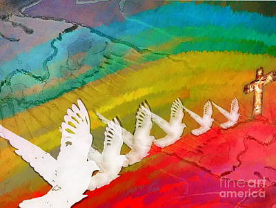Painting - Jesus Is The 7th Dove by Windy Mountain