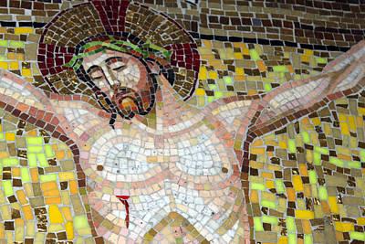 Jesus On The Cross Mosaic Original by Munir Alawi