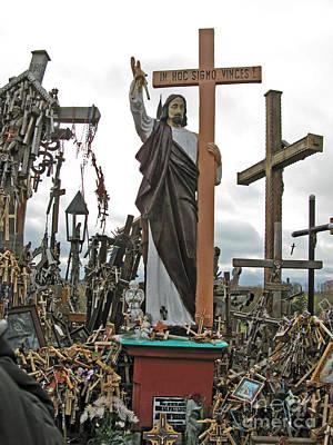 Jesus On The Hill Of Crosses. Lithuania Art Print by Ausra Huntington nee Paulauskaite