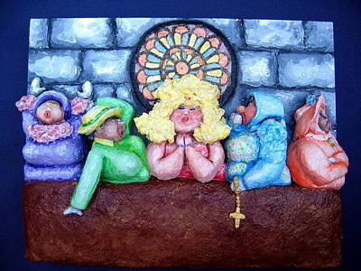 Chubbyart Relief - Jesus Save Us. The Devil Has Come To Church by Alison  Galvan