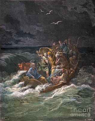 Drawing - Jesus Stilling The Tempest by Gustave Dore