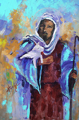 Jesus With Lamb Original by Mary DuCharme