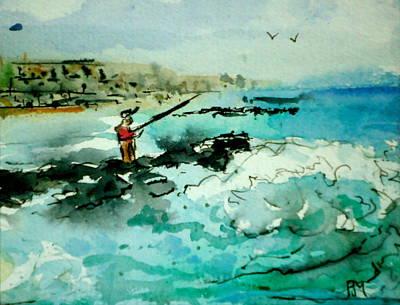 Jetty Fishing Original by Pete Maier