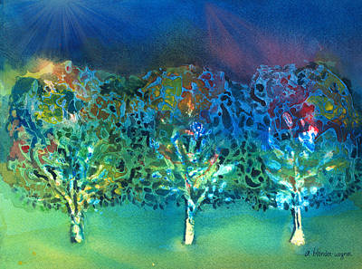 Mixed Media - Jeweled Trees by Arline Wagner