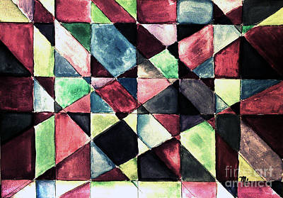 Abstract Quilt Painting - Jeweltone Quilt by Marsha Heiken
