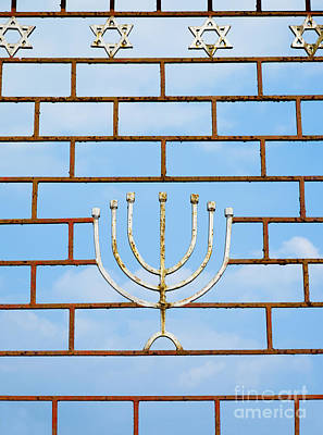 Menorah Photograph - Jewish Gate With A Menorah by Inti St. Clair