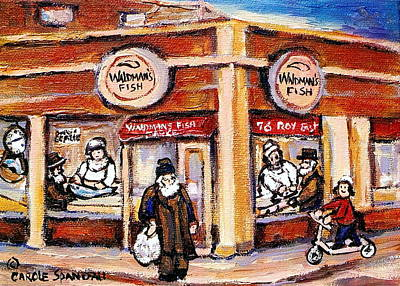 Painting - Jewish Montreal Vintage City Scenes Fish Market On Roy Street by Carole Spandau