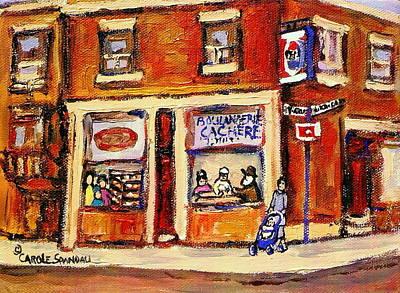 Montreal Memories Painting - Jewish Montreal Vintage City Scenes Hutchison Street Butcher Shop  by Carole Spandau