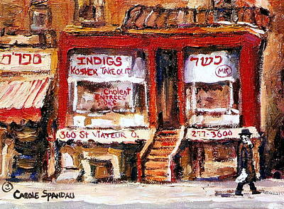 Montreal Memories Painting - Jewish Montreal Vintage City Scenes Indigs Kosher Butcher by Carole Spandau