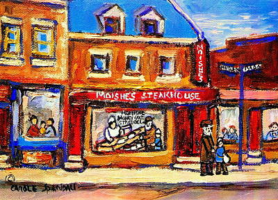 Jewish Montreal Vintage City Scenes Moishes St. Lawrence Street Art Print by Carole Spandau
