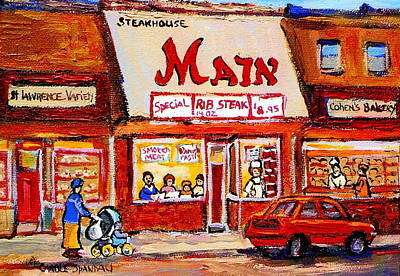 Painting - Jewish Montreal Vintage City Scenes The Main Rib Steaks On St. Lawrence Boulevard by Carole Spandau