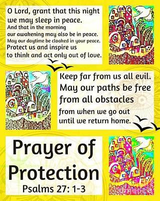 Hamas Painting - Jewish Prayer Of Protection City Of Jerusalem Citron by Sandra Silberzweig