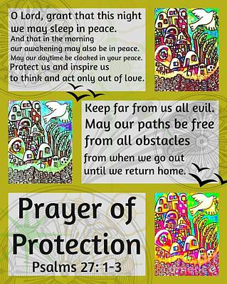 Hamas Painting - Jewish Prayer Of Protection City Of Jerusalem Gold by Sandra Silberzweig