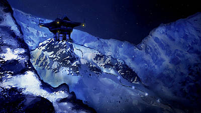 Jhinza Temple In The Mountains Art Print by Scott Harris