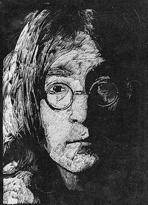 Fab Four Drawing - Jhon Lennon by Robert Clement