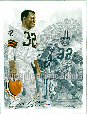 Cleveland Browns Football Painting - Jim Brown - Hall Of Fame Portrait by George  Brooks
