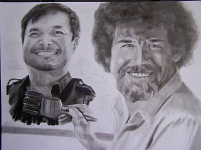 Bob Ross Drawing - Jim Lee And Bob Ross by Luis Carlos A