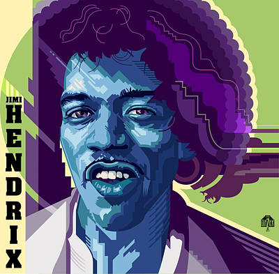 Jazz Royalty-Free and Rights-Managed Images - Jimi Hendrix in Blue by Garth Glazier