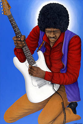 Stratocaster Painting - Jimi Hendrix  by Larry Smart