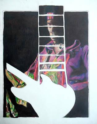 Strat Drawing - Jimi Hendrix Perspective  by Jon Baldwin  Art