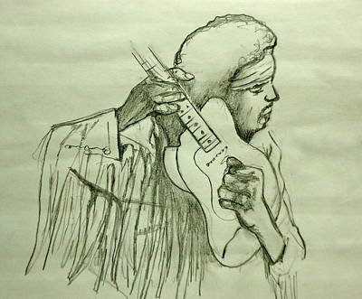 Stratocaster Drawing - Jimi Sketch by Pete Maier
