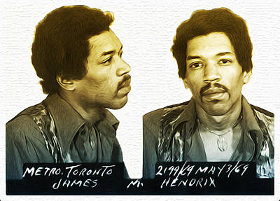 Guitar Photograph - Jimmi Hendrix Mug Shot by Bill Cannon