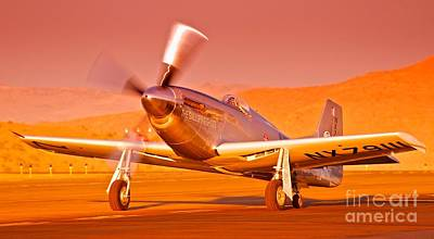 Reno Air Races Photograph - Jimmy Leeward And The Galloping Ghost Overtime Sunset Takeoff by Gus McCrea