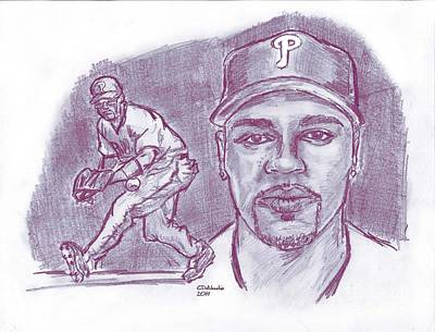 Drawing - Jimmy Rollins Jroll Mix by Chris  DelVecchio