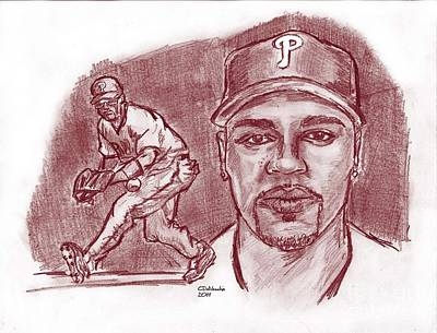 Drawing - Jimmy Rollins Jroll Red by Chris  DelVecchio