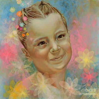 Flower Child Painting - Joana's Portrait by Karina Llergo