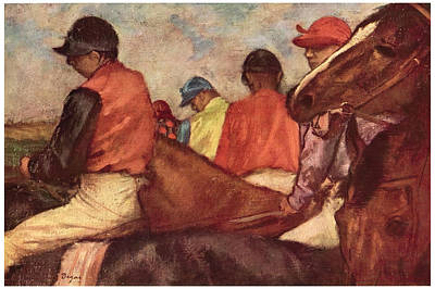 Race Horse Painting - Jockeys by Edgar Degas