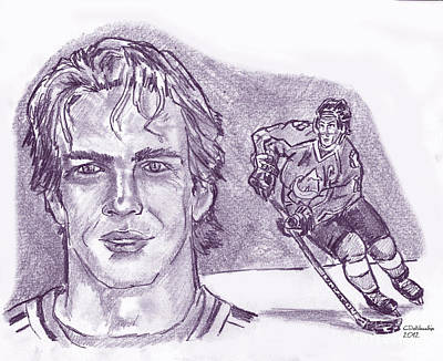 Drawing - Joe Sakic by Chris  DelVecchio