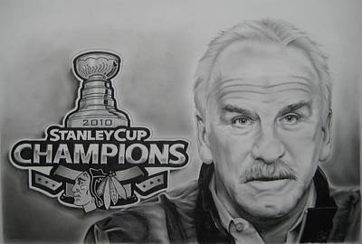 Stanley Cup Drawing - Joel Quenneville by Brian Schuster