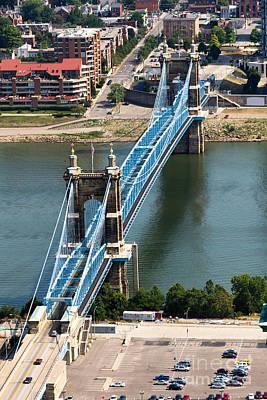 Covington Photograph - John A. Roebling Bridge Cincinnati Ohio by Paul Velgos