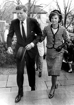 Leather Purses Photograph - John And Jacqueline Kennedy Arrive by Everett