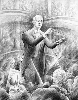 Drawing - John Barnum At Grand Finale Concert by Alex Tavshunsky